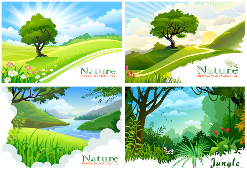 Free Vector Nature Landscape Background