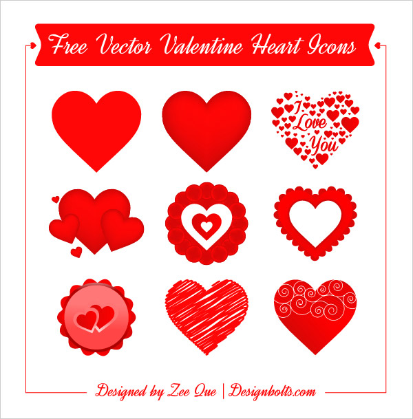 Free Vector Valentine Hearts