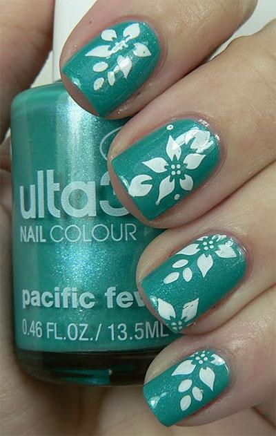 Green and White Nail Art Design