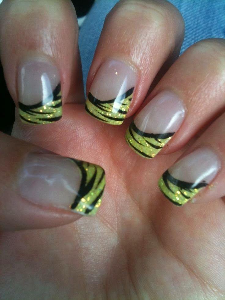 Green Gel Zebra Nail Designs