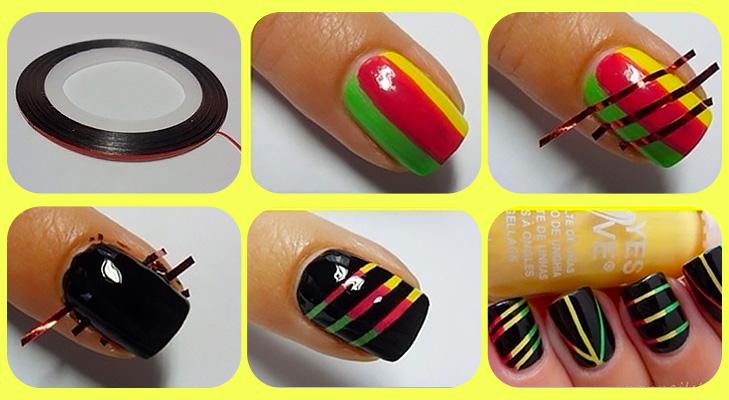 Green Yellow and Black Nail Art
