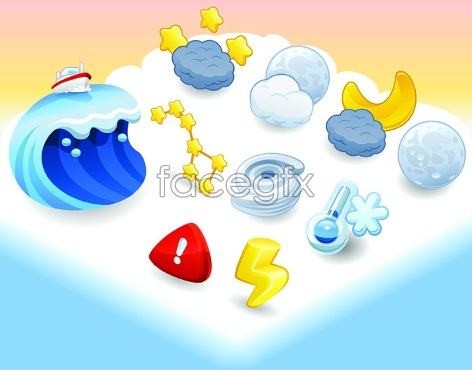 12 Cartoon Weather Icons Vector Images