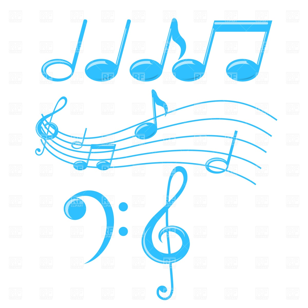 Music Notes and Treble Clef Clip Art