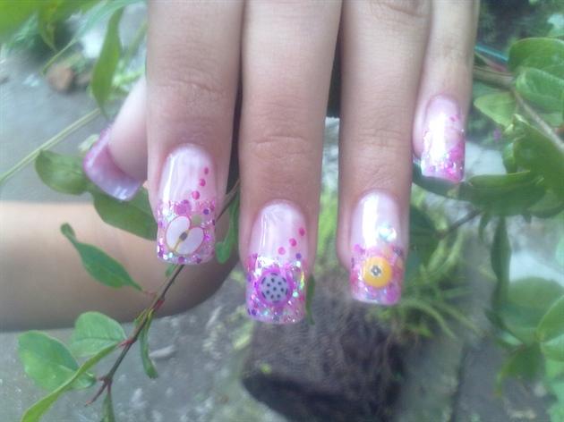 Pink Green and Yellow Nail Designs