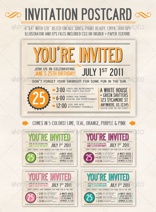 Postcard Invitation Template