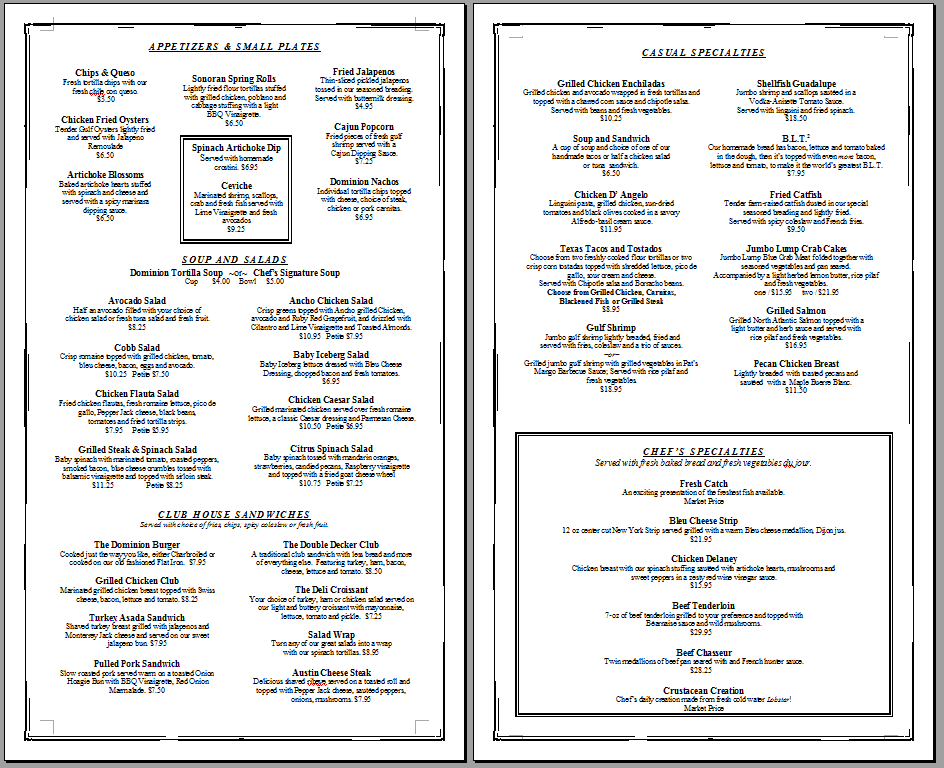 restaurant menu template download - Keni.candlecomfortzone.com