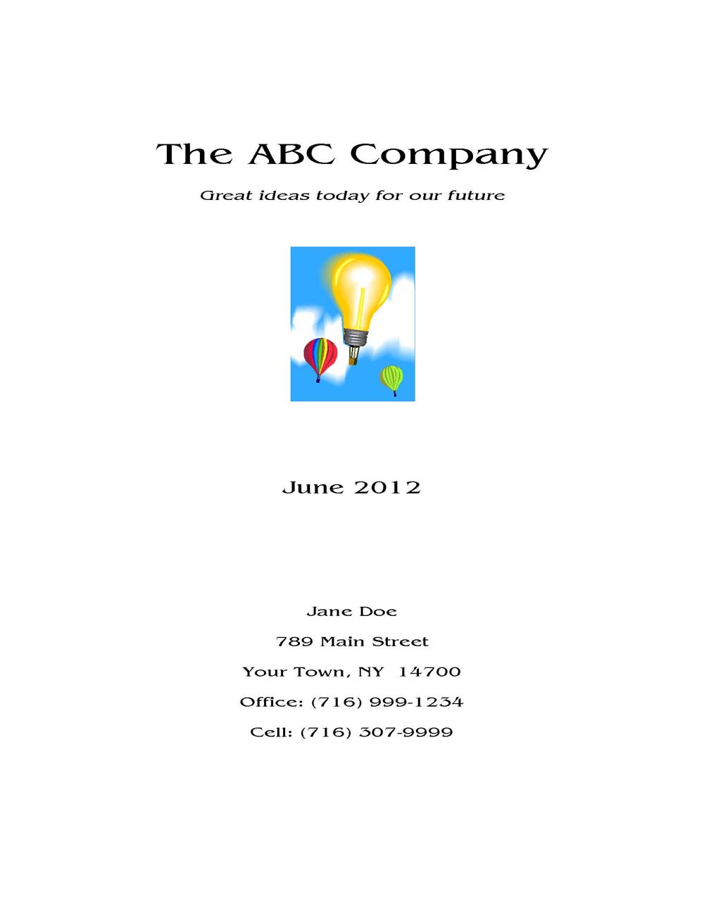 Sample Business Plan Cover Page