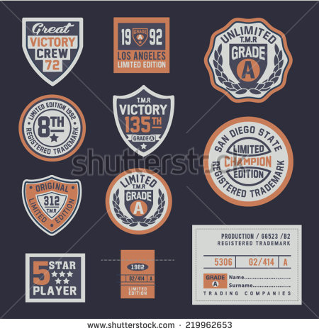Sports Graphic Shield Emblem Set