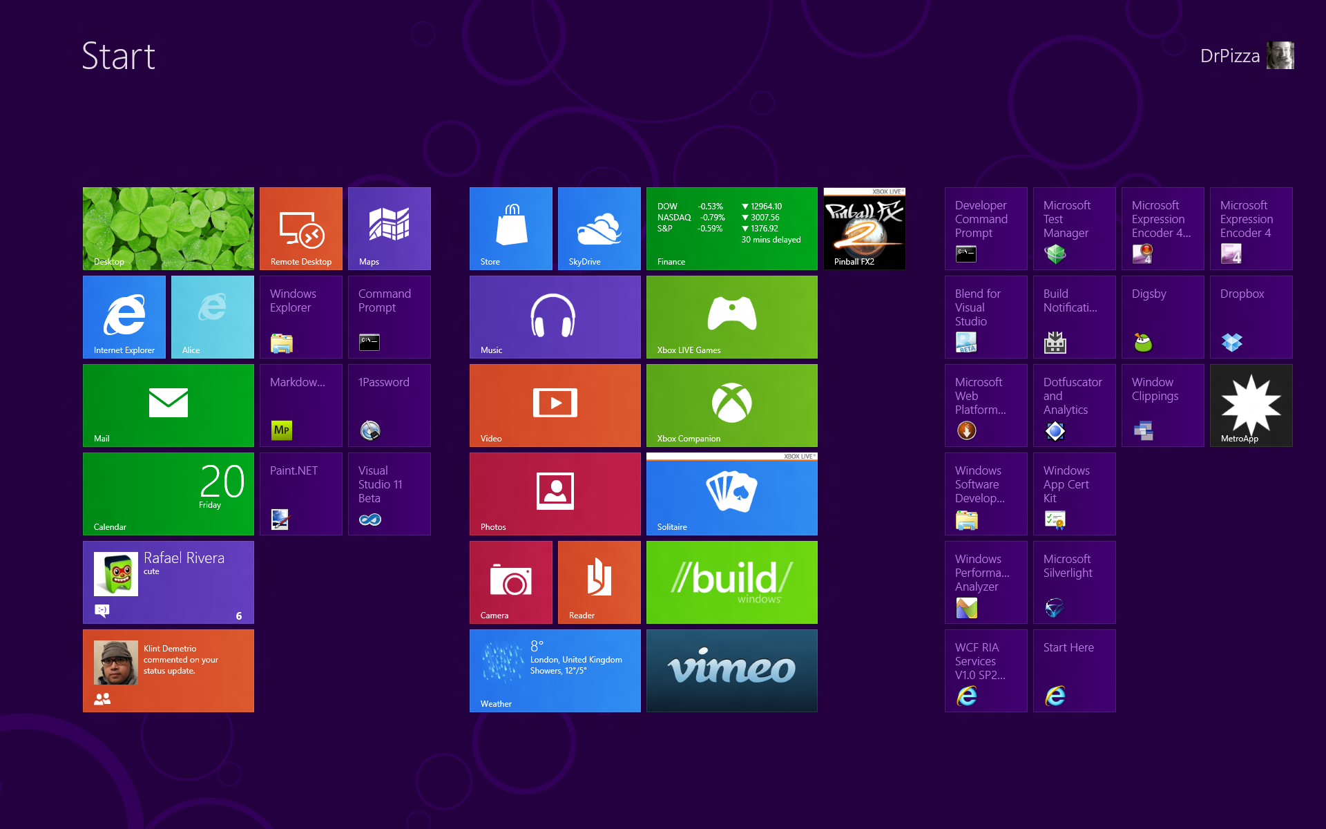 Windows 8 Start Screen Desktop