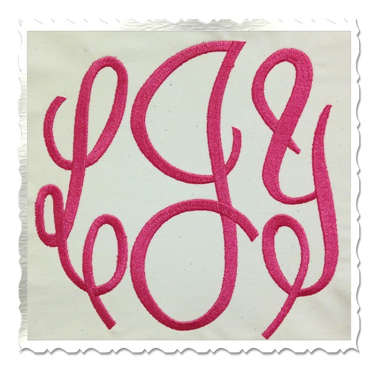 3 Letter Monogram Embroidery Fonts Large