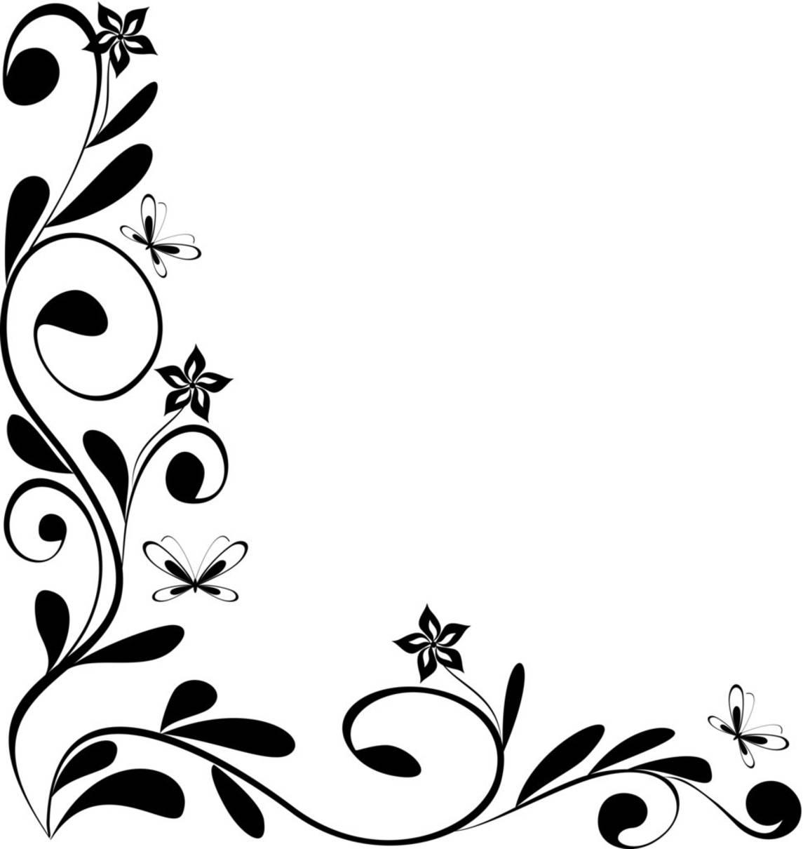 Black and White Floral Border Design