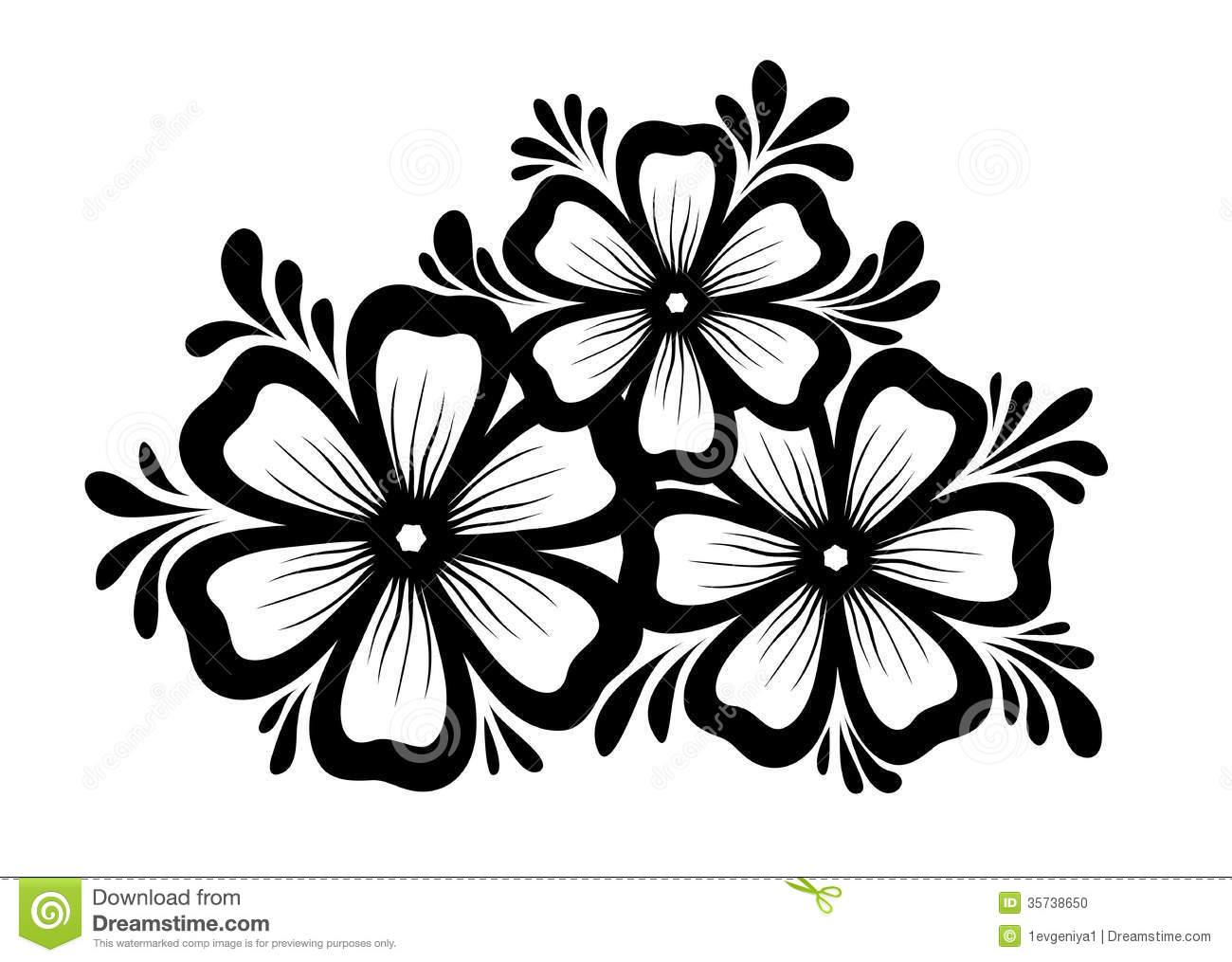 Black and White Flower Floral Design