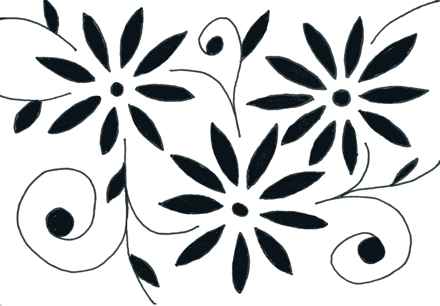 Black and White Simple Flower Drawings