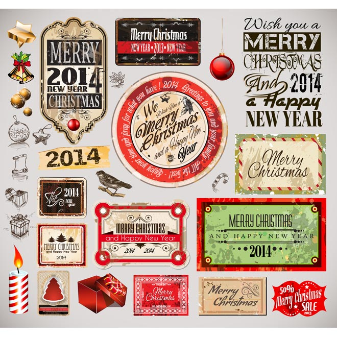 Christmas Vectors Free Vintage Label