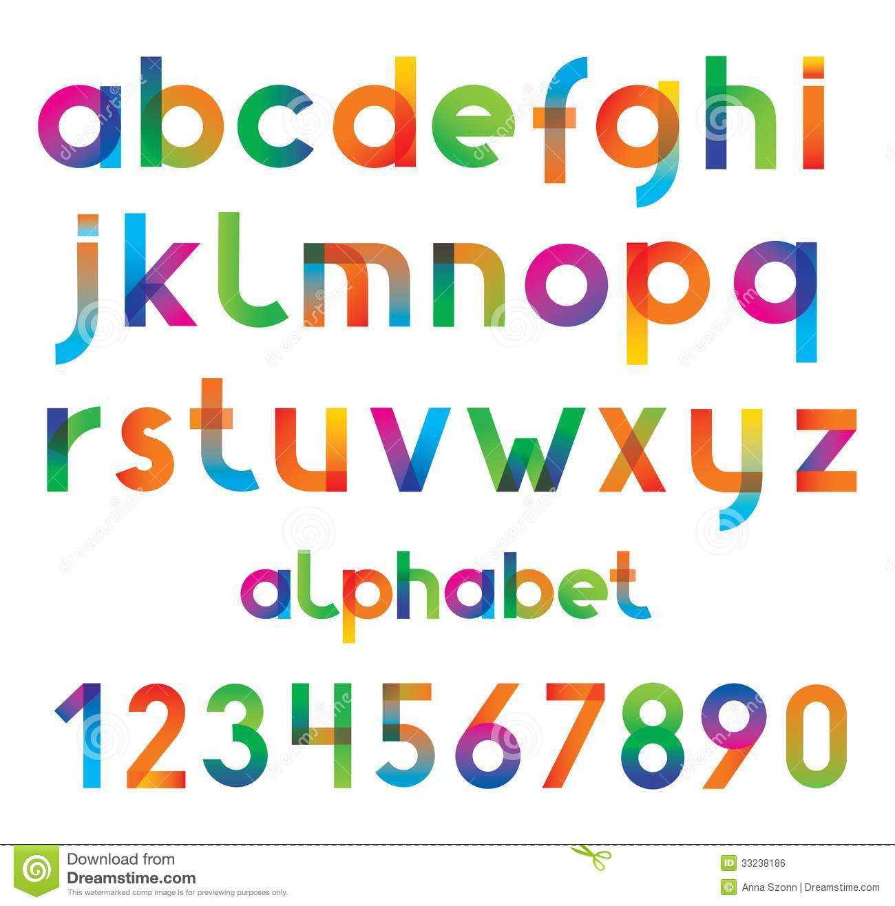 Colorful Cool Fonts Numbers