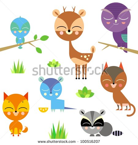Cute Animal Set Stock Vector