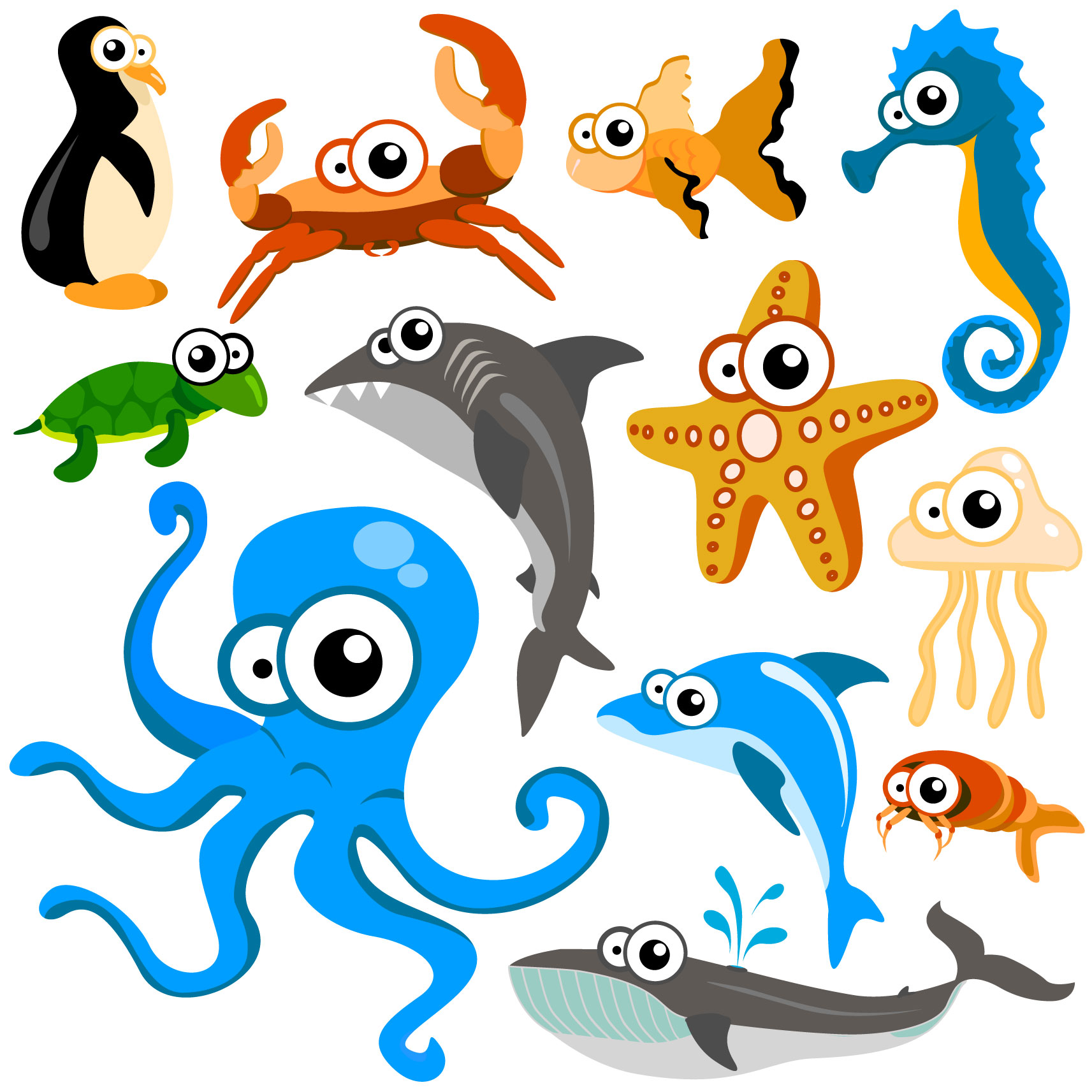 Cute Cartoon Sea Animals