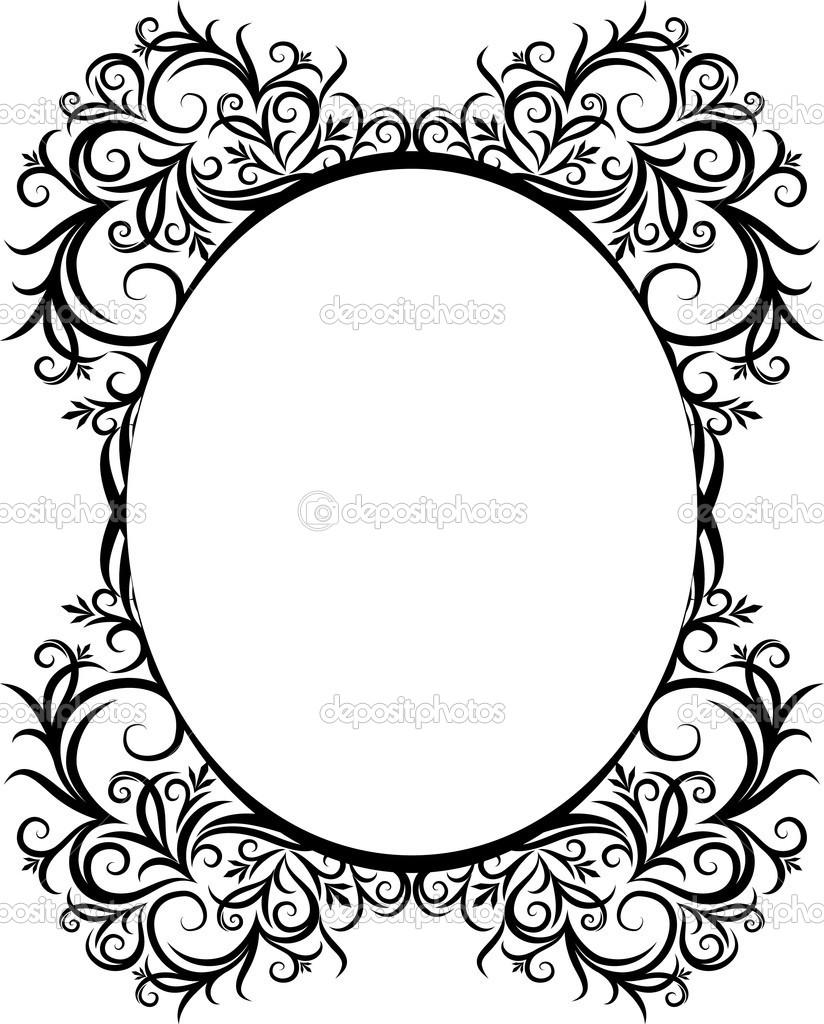 Elegant Oval Border Frame Clip Art