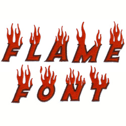 Flame Font Embroidery Design