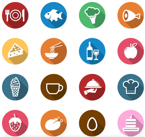Flat Food Icon Vectors