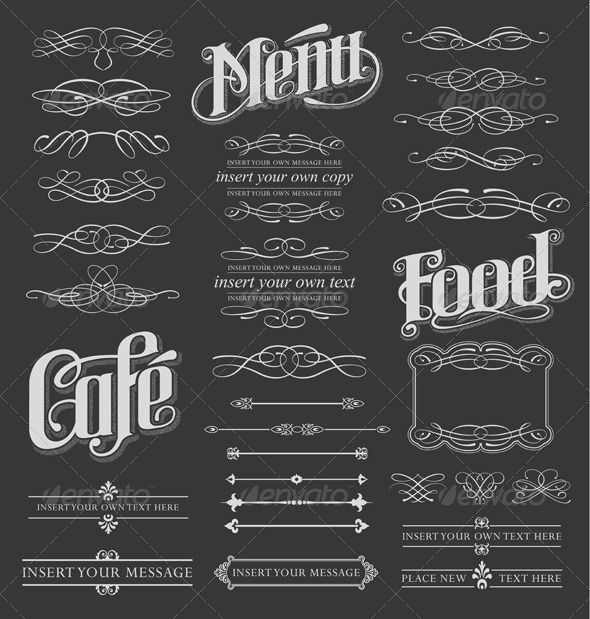 5 Chalkboard Calligraphy Vintage Design Elements Images