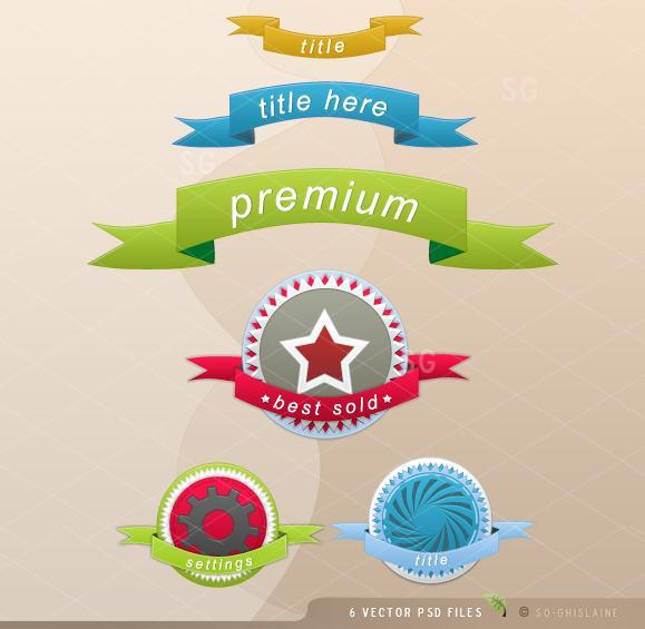 FREE Ribbon PSD Files
