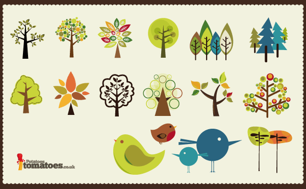 8 Free Tree Vector Pack Collection Images