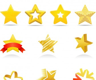 18 Gold Star Shape Vector Images