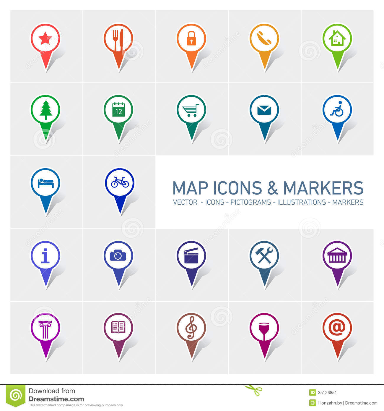 Google Map Marker Icons Vector