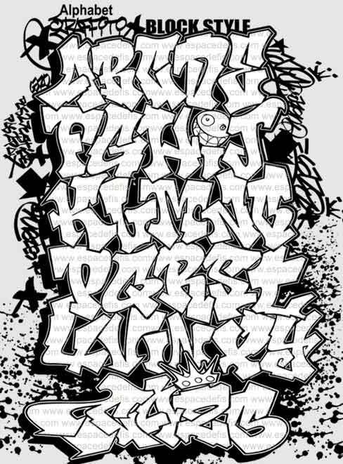 Graffiti Alphabet Block Style Letters