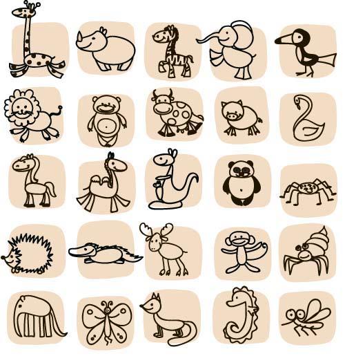 Hand Drawn Cartoon Animals