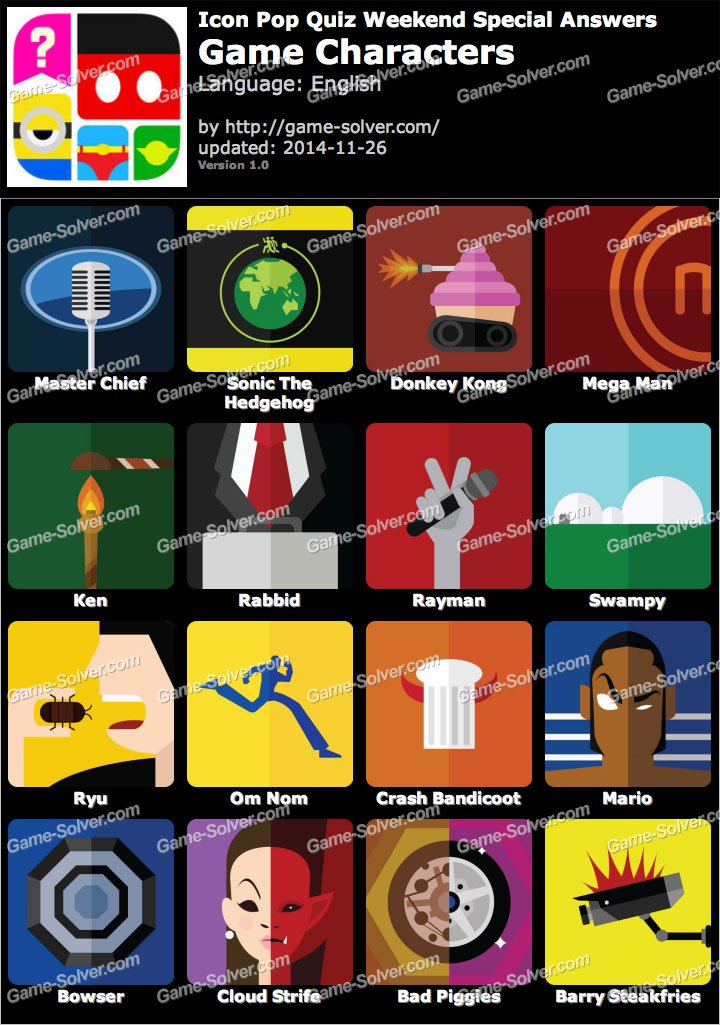 Icon Pop Quiz Game Characters
