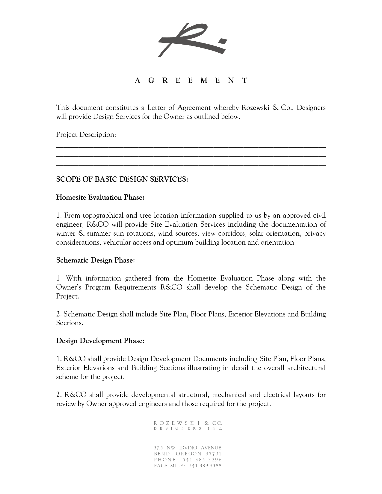 19 Design Agreement Template Images Interior Contract