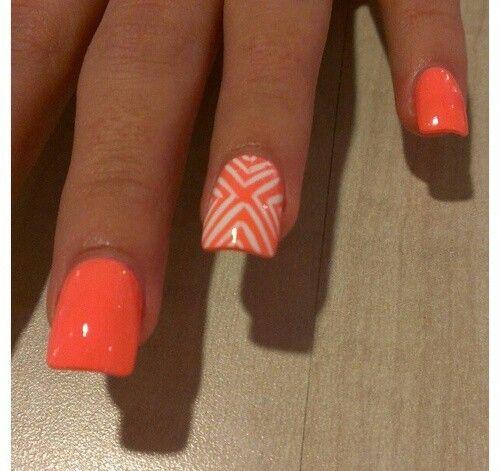 16 Neon Orange Nail Designs Images