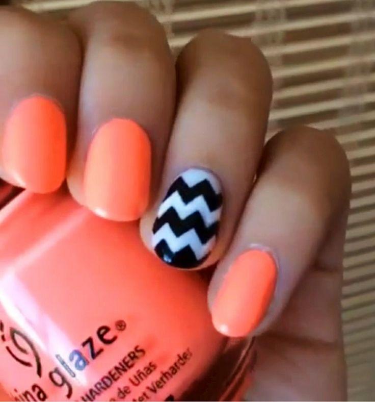 Neon Orange Nail Design