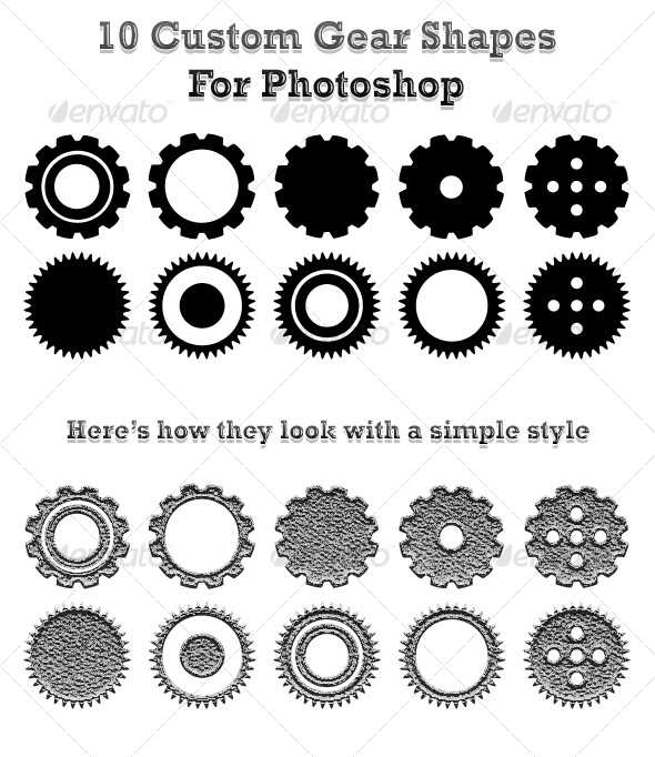 10 Gear Shape Photoshop Images