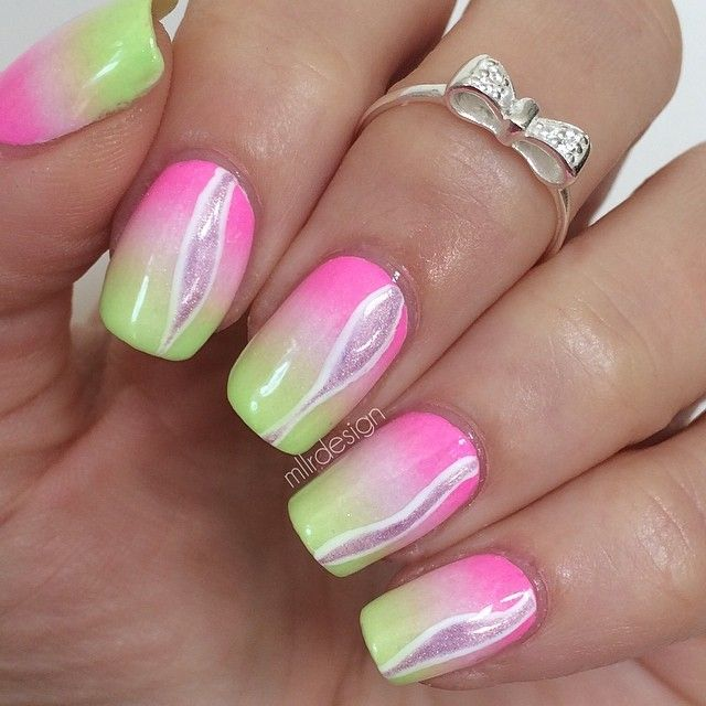 Pink Ombre Nail Art Design