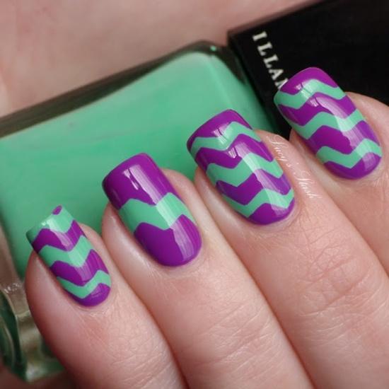Purple Zig Zag Nail Designs