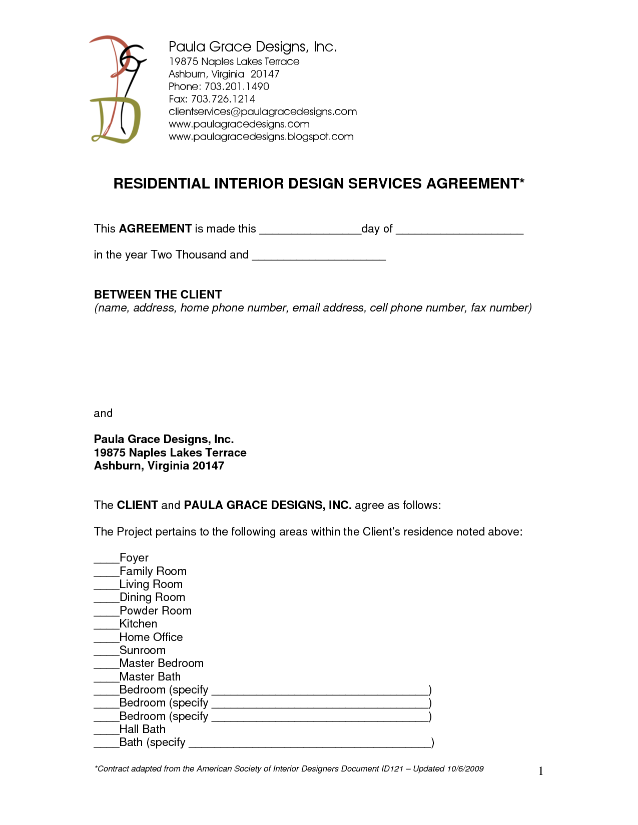 Cover letter for contract agreement - Interior design letter of agreement ...