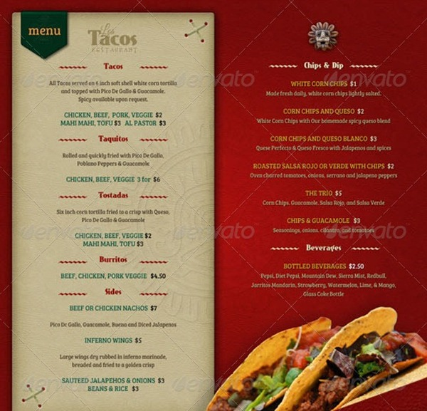 14 Food Menu Template Images