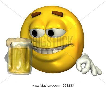 Smiley-Face Drinking Beer