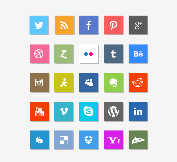 14 Social Media Flat Icons Images