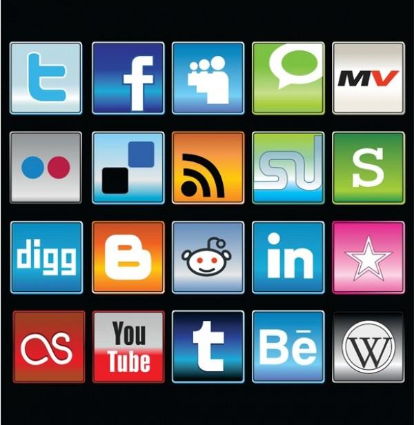 Social Media Icons Glossy