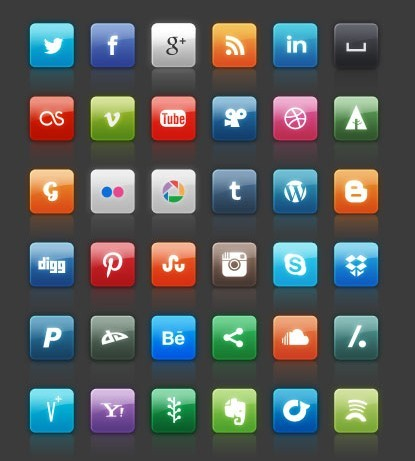 Social Media Icons Pinterest Facebook Twitter