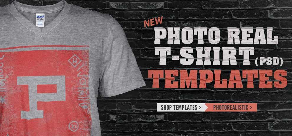 V-Neck Shirt Templates for Photoshop