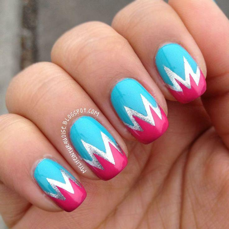 14 Zig Zag Nail Designs Images Black And White Chevron Nails Pink