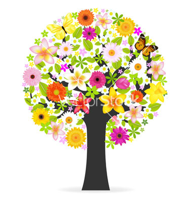 Abstract Flower Vector Tree