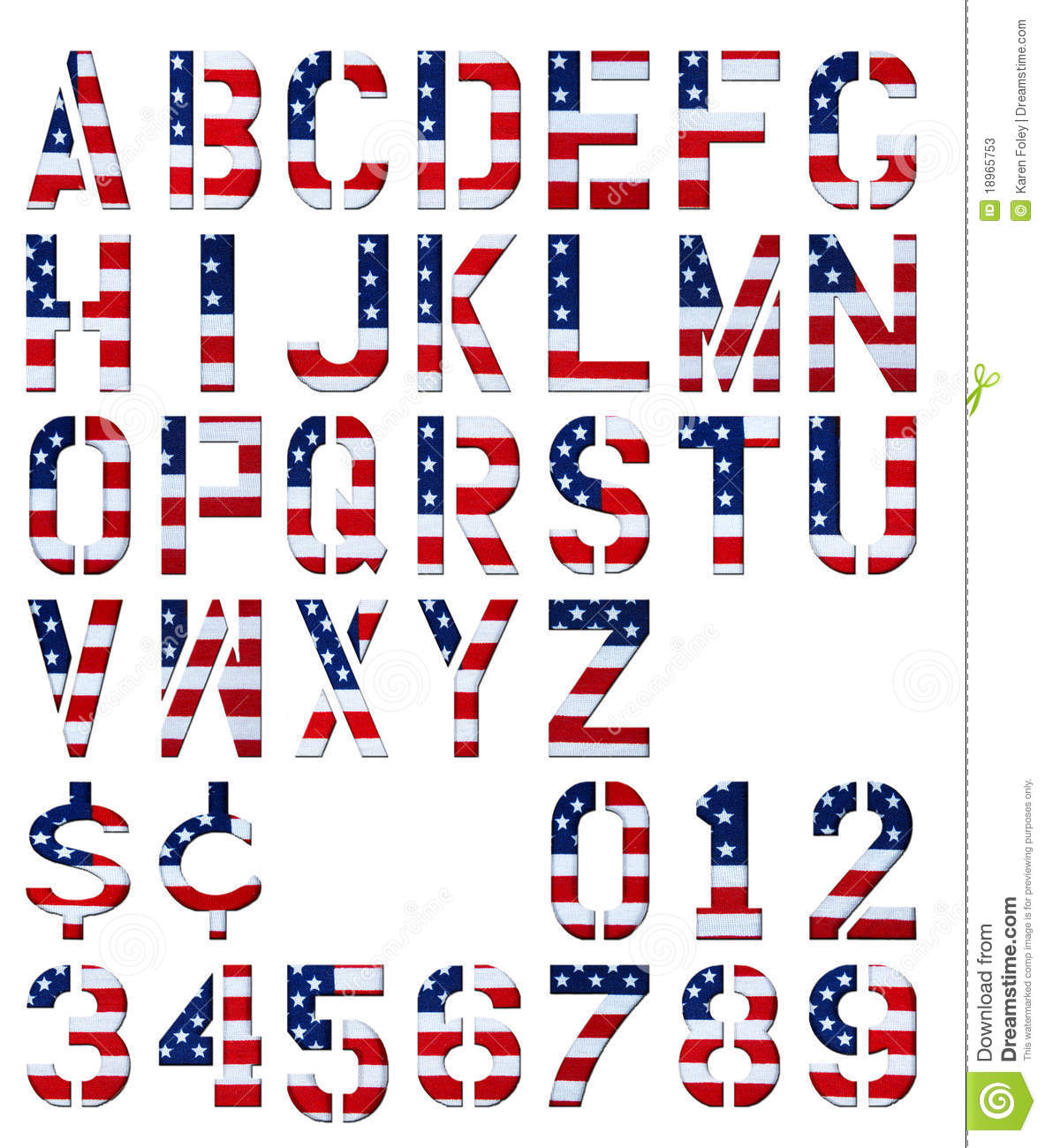 17 American Flag Numbers Font Images