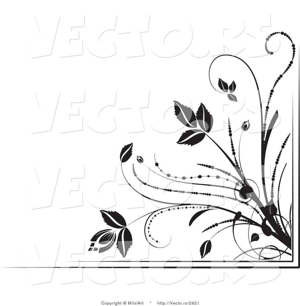Black and White Flower Border Designs