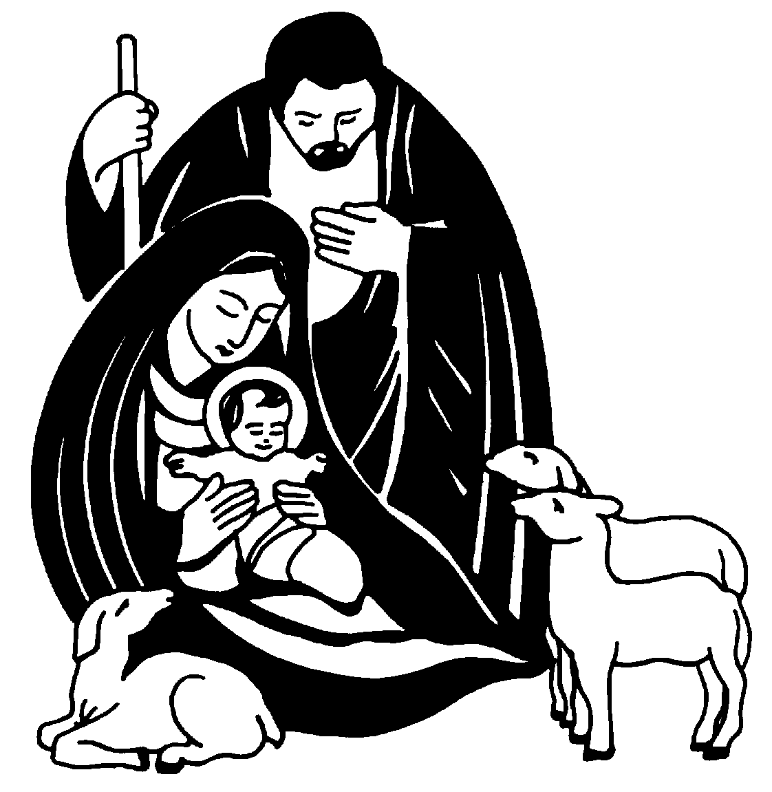 Black and White Nativity Clip Art